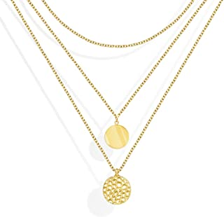 JSJOY Tiny Gold Chain Choker Necklaces - 14K Gold Plated Personalized Layered Moon Pendant Gold Link Chain Necklaces for Women Girls Gifts for Her