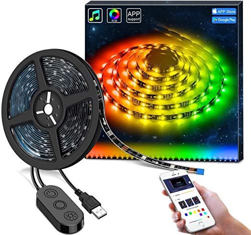 Govee DreamColor LED Strips mit eingebautem IC, 2m LED Streifen RGB Sync mit Musik, Wasserdichte USB LED Band mit APP, 300 LEDs SMD 5050 flexibler LED Lesite LED Stripes für Deko Party