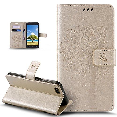 Coque Huawei Honor 4X,Etui Huawei Honor 4X,ikasus Gaufrage Embosser Chat papillon Fleur Floral arbre Housse en Cuir PU Etui Housse en Cuir Portefeuille Flip Case Etui Coque pour Huawei Honor 4X,Or
