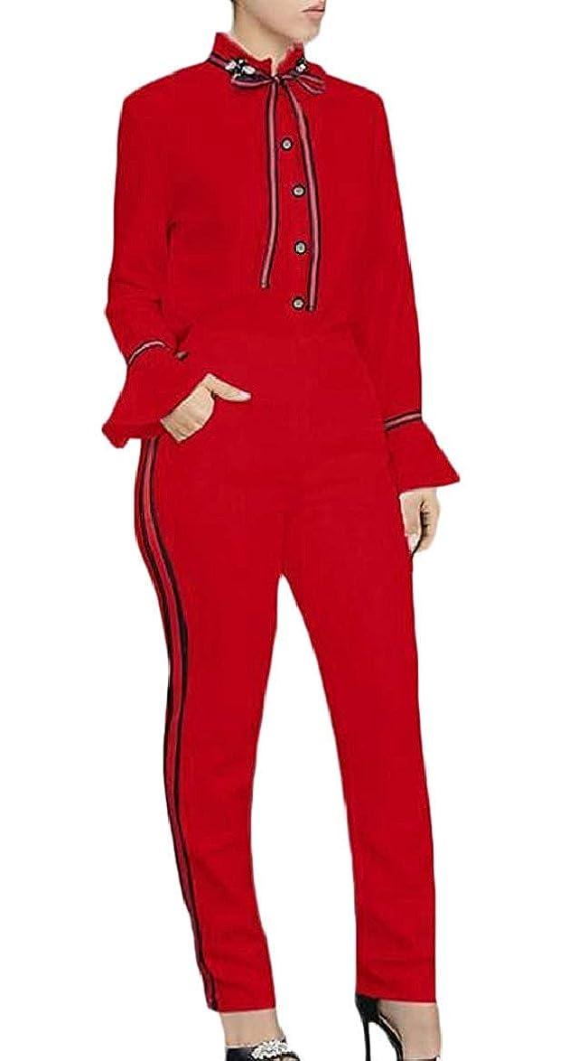 自分の力ですべてをする菊口径女性2ピース衣装長袖カジュアルトップスとパンツジャンプスーツ Black US Large