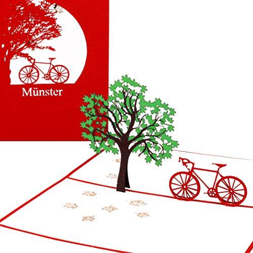"""Pop Up Karte """"Münster mit dem Fahrrad"""" 3D Glückwunschkarte, Geburtstagskarte & Souvenir – als Reisegutschein, Deko, kleines Geschenk & Geschenkverpackung – Fahrradkarte Münsterland"""