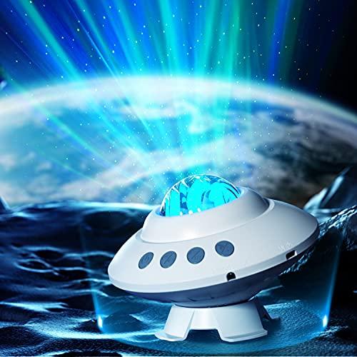 Koicaxy LED-Sternenhimmel Projektor, Aurora Lichtprojektor Lampe mit Fernbedienung und Bluetooth Musikplayer, Galaxie Projektor Nachtlicht Partylicht Dekorationslicht für Baby Kinder Erwachsene