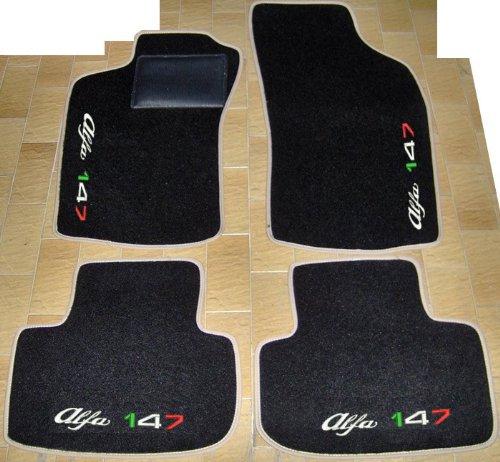 Tappeti per Auto Neri con Bordo Beige, Set Completo di Tappetini in Moquette su Misura, Ricami a Filo Tricolore Italiano SPEDIZIONE Gratuita
