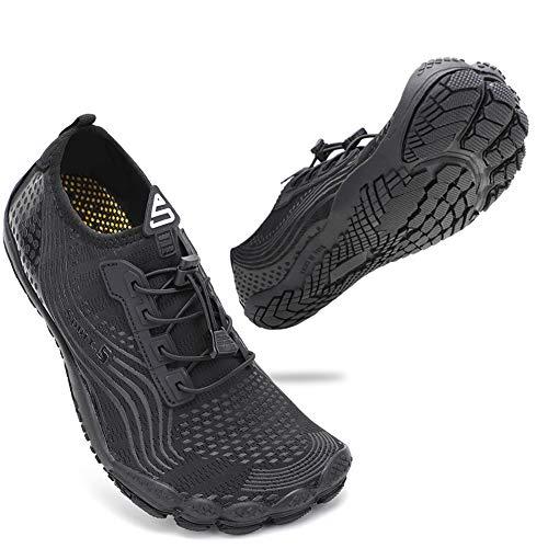 ZHR Badeschuhe Herren Damen Schwimmschuhe Wasserschuhe Leicht Bequem Schnell Trocknend Barfuß Strandschuhe Schuhe All Black EU41