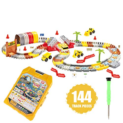 Race Tracks with Track Cars, Boys Toys for 4 Year Old Boys,Car Tracks Toddler Kids Toys 5 Years Boy Glow in the Dark, Flexible Track Playsets Toy Cars Best Gift for Age 3,4,5,6 Year Old Boys(144 pcs)