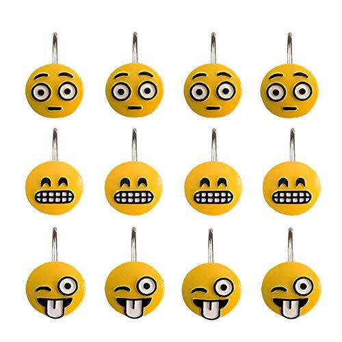Leery Lustige Emoji-Smiley-Gesicht, dekorative Duschvorhang-Haken, wasserdicht und rostfrei, Kunstharz, Badezimmer-Vorhanghaken, niedliche Cartoon-Ankleidezimmer-Haken (12 Stück)