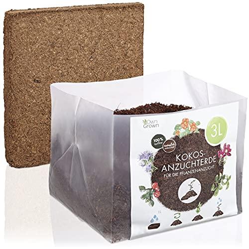Kokos Anzuchterde mit Nährstoffen: 3L Premium Anzuchterde torffrei – Kokoserde gepresst als praktische Quellerde – Kokos Blumenerde Zimmerpflanzen – Blumenerde Balkonpflanzen – Anzucht Erde OwnGrown