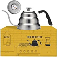 Barista Warrior Stainless Steel Pour Over Coffee & Tea Kettle with Thermometer for Exact Temperature - Gooseneck Spout Pots - Kitchen Appliances & Dorm Essentials (1.0 Liter, 34 fl oz)