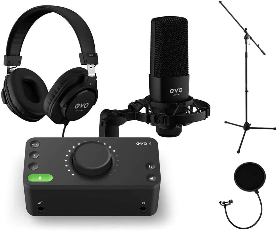 Audient EVO Super popular specialty store SRB Start Recording Bundle Stand P with Mic Tripod Year-end gift