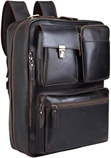 Tiding Leather Convertible Backpack 15.6 Inch Laptop Briefcase Shoulder Bag Travel Daypack for Men with YKK Zipper