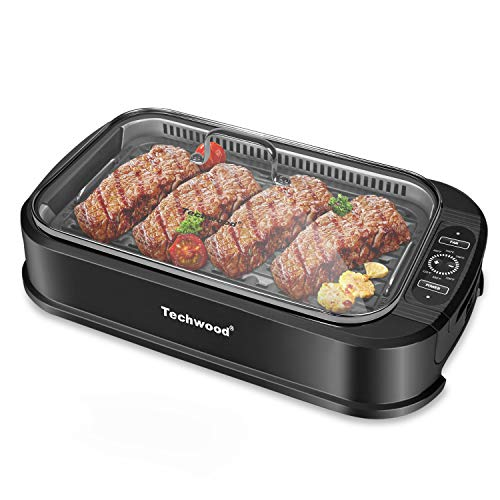 Indoor Smokeless Grill Techwood 1500W Power Electric BBQ Grill with Tempered Glass Lid, Compact & Portable Non-stick BBQ Grill with Turbo Smoke Extractor Technology, LED Smart Control panel