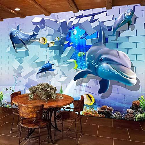 Msrahves Paredes Decoración Hogar Azul mar delfines mundo submarino 100X70CM Fotomurales Decorativos Pared 3D Póster Sala de Estar Dormitorio TV Fondo Papel Pintado 3D Fotomurale 3D Tv Telón De Fondo