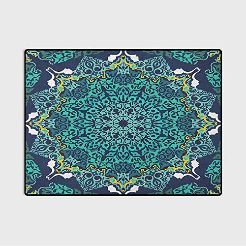 Turkish Pattern Christmas Bathroom Rugs Patio Rugs Authentic Motifs of Ottoman Culture Round and Floral Shape for Children Bedroom Home Decor Nursery Rug Turquoise Dark Blue Yellow 4 x 5.3 Ft