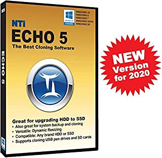 NTI Echo 5 (New for 2020!). The Best Cloning Software. It Simply Works. Make an exact copy of a HDD or SSD, with Dynamic Resizing