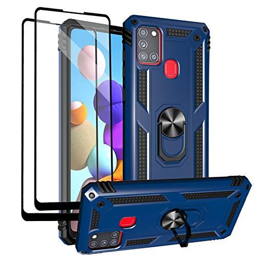 Funda para Samsung Galaxy A21s con protectores de pantalla de vidrio templado, soporte de anillo de metal de grado militar de 4,5 m, prueba de golpes, cubierta para Samsung Galaxy A21s, color azul