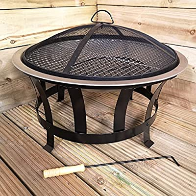 Samuel ALEXANDER Outdoor BBQ Grill Fire Pit Garden Patio Outdoor Heater Fire Bowl With Grill And Cover In Black And Silver, 60cm Bowl Includes Poker from Samuel Alexander