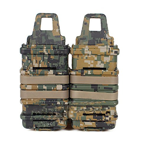 haoYK Tactical Airsoft Doble Fast Adjuntar MP7 mag Revista Bolsa Molle Funda Holster Set Camo