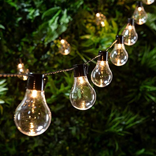 Retro Solar String Lights Outdoor Garden LED Festoon Party Globe 20 Bulbs Light Waterproof Lighting for Garden, Terrace, Trees, Yard, House Party Decoration - Warm White