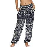 Nuofengkudu Femme Hippie Large Sarouel Pantalon Poches Taille Elastique Éléphant Motif Baggy Yoga Pants Leger Ete Plage Vetement Thailande Jogging(Noir Éléphant A,S)
