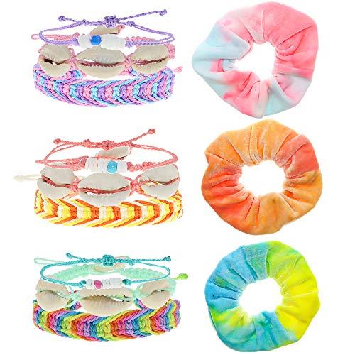 FROG SAC 12 VSCO Bracelets for Teen Girls and Matching Tie Dye Hair Scrunchies