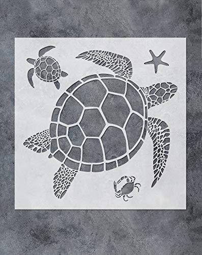 GSS Designs SL-067 - Stencil per decorazione da parete con tartaruga marina, 30 x 30 cm, per decorazione da parete in tela da bagno, motivo tartarughe marine, granchio, stelle marine