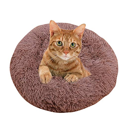 BVAGSS zacht wasbaar comfortabel huisdier bed bank ronde nest slapen kussens voor katten en honden XH034, Diameter:50, BRON