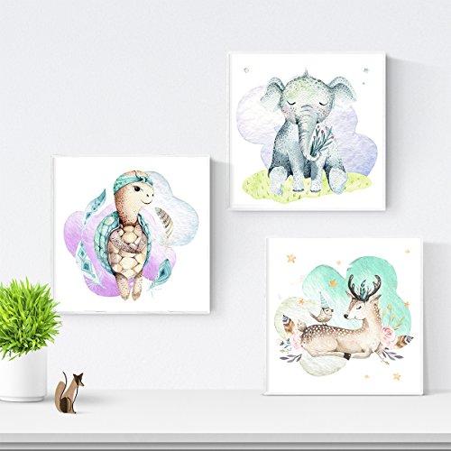 Set de 3 láminas para enmarcar ELEFANTE, CERVATILLO Y TORTUGA . Posters para habitación infantil. Estilo acuarela y tonos pastel