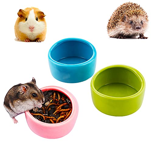 3 Pcs Ceramic Hamster Food Bowl and Water Dish Feeder for Small Hedgehog Hamster Rodents ( L: Diameter 2.95', Blue, Green and Pink )