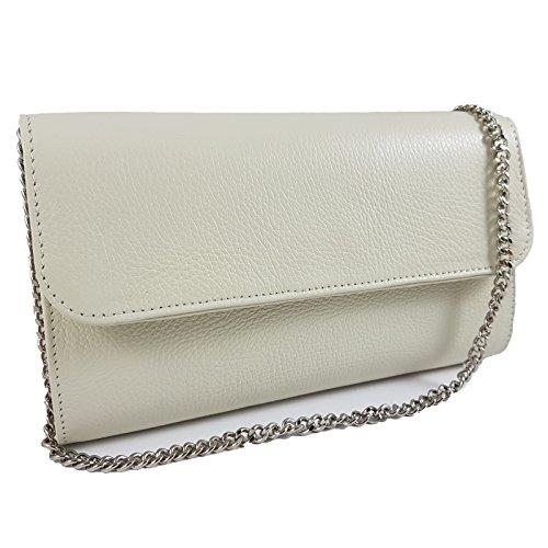 Echtleder Damen Clutch Tasche Abendtasche Muster Metallic 25x15cm (Creme)