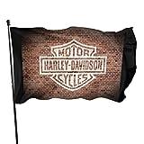 N / Vintage Harley Davidson Logo bemalt auf alten Ziegelsteinen, Kunstdruck, Flagge, Banner, Flaggen, 91 x 152 cm