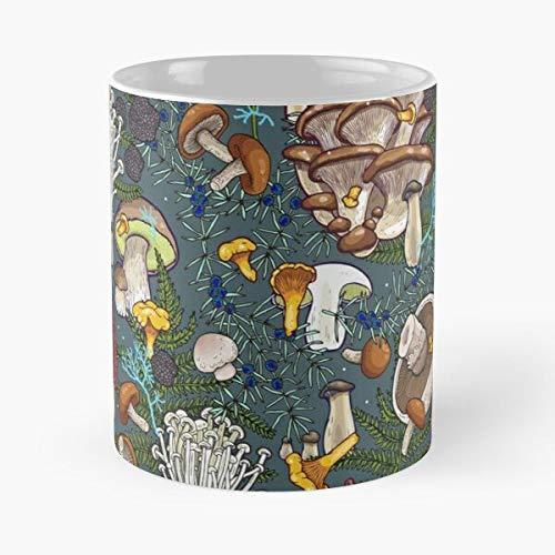 Oyster Bolete Truffle Portobelo Maitake Fungus Chanterelle Enok Mug holds hand 11oz made from White marble ceramic printed trendy design