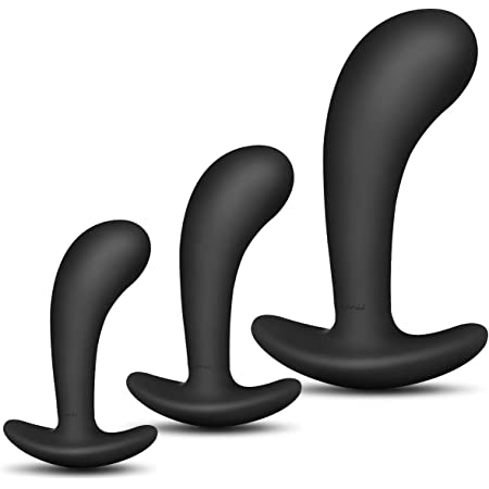 Butt Plug Trainer Kit for Comfortable Long-Term Wear, Pack of 3 Silicone Anal Plugs Training Set with Flared Base Prostate Sex Toys for Beginners Advanced Users