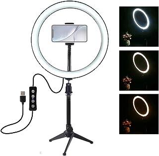 25,4 cm LED ringlampa med stativställ, 3 belysningslägen ljusstyrka justerbar för Live Streaming Selfie-fotografering vide...