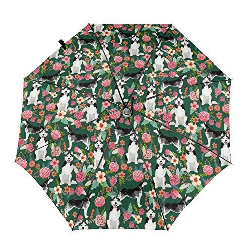 Husky - Paraguas portátil con diseño de perro con diseño floral y diseño de perro, impermeable, antiUV, resistente al viento, duradero