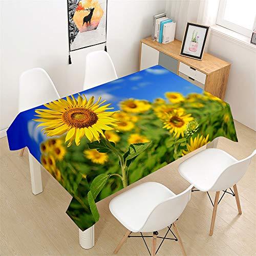 Morbuy Tischdecke Rechteckig Abwaschbar - 3D Sonnenblume Drucken Tischdecken Quadratisch Wasserdicht Lotuseffekt Abwischbar Tischtuch für Dekoration Küche Garten (Helianthus Blumen,100x140cm)
