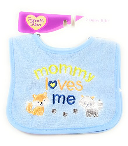 Parent's Choice Boys' Baby Bib, I Love Mommy, 2-Pack