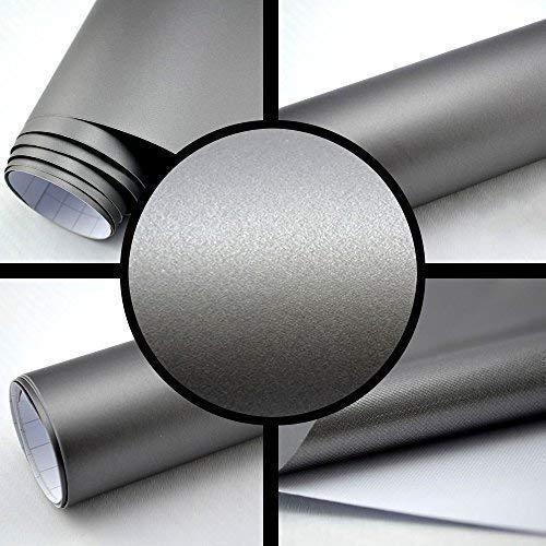 TipTopCarbon 6,57€/m² Autofolie Matt Silber-Grau 1m x 1,52m Auto Folie BLASENFREI mit Luftkanälen 3D Flex
