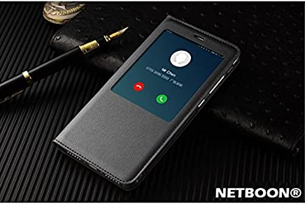 NETBOON Xiaomi Mi Note 4 Window Cut Leather Flip Cover Case with Call Answering/Refusing - (Black)