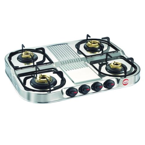 Prestige Stainless steel 4 Burner Gas Stove, Manual Ignition,...