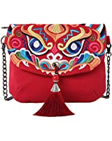 Embroidered Canvas Crossbody Bag, Multi-Pockets Flap Should Bag Cell Phone Purse Wallet Bags (B01: Size Bigger-Horizontal-Tassel & Chain-Nian)