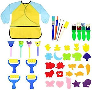 Kids Early Learning Sponge Painting Brushes Kit, 42 Pieces Sponge Drawing Shapes Paint Craft Brushes for Toddlers Assorted...