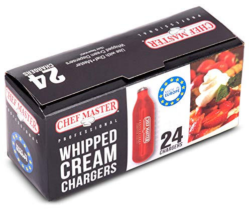 Chef-Master Whipped Cream Chargers, Nitrous Oxide Whipped Cream Cartridge PACK OF 24, Whip Cream Dispensers Chargers, Made in Europe