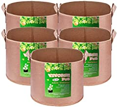 VIVOSUN 5-Pack 2 Gallons Grow Bags Heavy Duty Thickened Nonwoven Fabric Pots with Strap Handles Tan