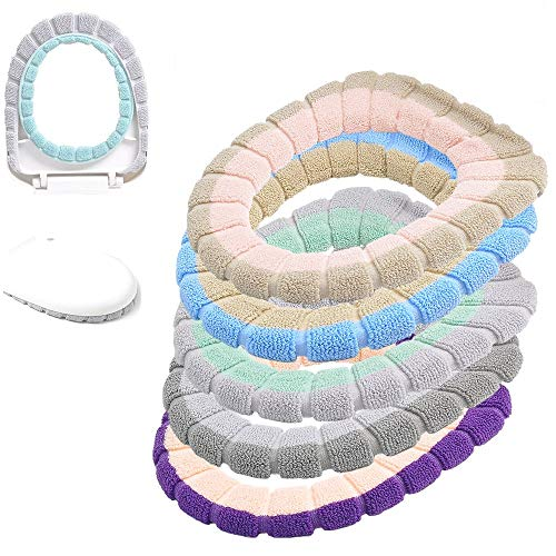 Taylor Gre 5 pcs Bathroom Soft Thicker Warmer Stretchable Washable Cloth Easy Installation & Cleaning Comfortable Toilet Seat Cover Pads (A)