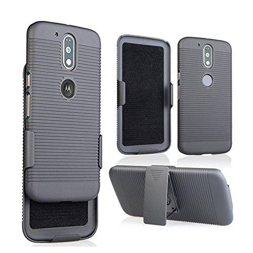 MICROSEVEN Moto G4 Case, Moto G4 Plus Case, Black Rubberized Slim Hard Case Cover + Belt Clip Holster Compatible with Moto G 4& Moto G4 Plus (Black Shell Holster)