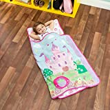 EVERYDAY KIDS Toddler Nap Mat with Removable Pillow -Princess Storyland- Carry Handle with Fastening Straps Closure, Rollup Design, Soft Microfiber for Preschool, Daycare, Sleeping Bag -Ages 2-6 years