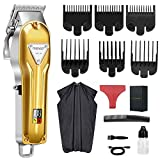 Hair Clippers,Electric Pro Li Cordless Rechargeable Grooming Kits T-Blade Close Cutting Trimmer for Men Baldhead Beard Shaver Barbershop Professional (bronze)