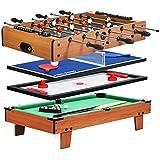 Costway Table de Jeux Multifonction 4 en 1, Baby-Foot, Air Hockey, Billard, Tennis de Table pour Enfants, Adultes, Taille Compacte Parfaite pour Les Salles de Divertissement, Salles de Jeux etc.