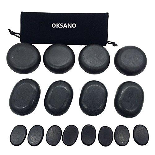OKSANO 16 Piedras de masaje de piedra caliente, piedra de base caliente, masajeador de piedra caliente, juego de piedras calientes basalta, ideal para spas, terapia de masaje, relajación