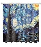 A.Monamour Sternenhimmel Nachtdruck Vincent Van Gogh Ölgemälde Kunstdruck Wasserdicht Mehltau Resistent Stoff Polyester Duschvorhang Für Bad Dekor 180X200 cm / 72